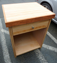 """Photo: This is our smallest Kitchen Cabinet perfect for your guest house, mother in law apartment, or studio apartment. With a maple and cherry cuttingboard top, this works great for all those kitchen projects. The 6.5"""" drawer right is great for keeping your chopping utinsils handy. With a Lifetime structural guarantee. Northwest Cedar with a natural Eucalyptus inlay and Birch sides. Built with the strongest lightweight Eco-Friendly furniture ever invented, guaranteed! Style: Contemporary Size: 20"""" Wide 32"""" Tall 20"""" Deep Drawer Size: 18"""" Wide 6"""" High 17"""" Deep Color: Natural Wood Veneer"""