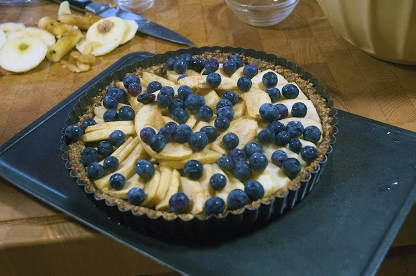Remove from the oven, and sprinkle the top with the blueberries.