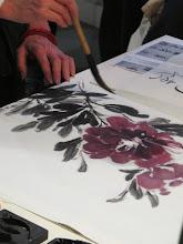 """Photo: """"pivoine"""" encre de chine de couleur sur papier de murier"""