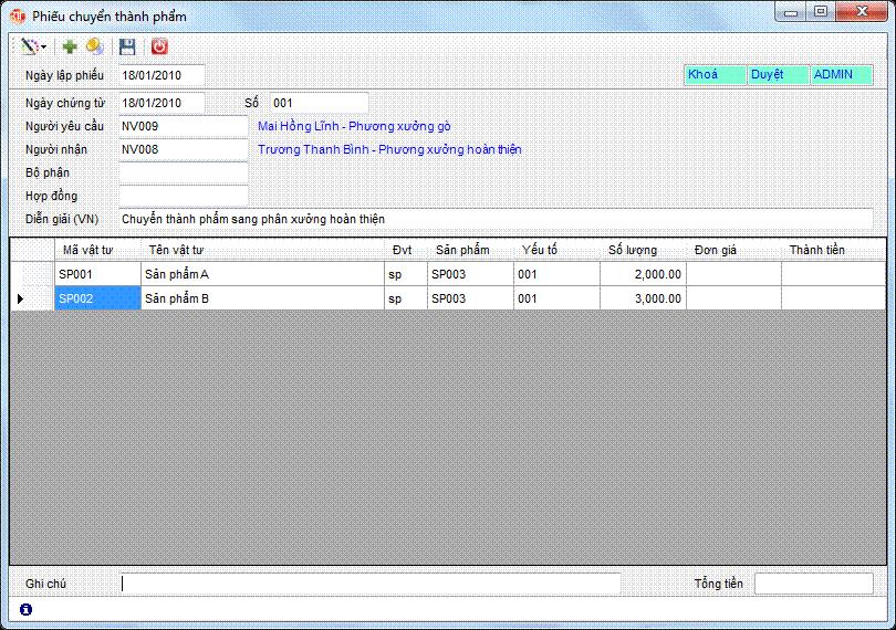 Phiếu chuyển thành phẩm phần mềm kế toán 3tsoft