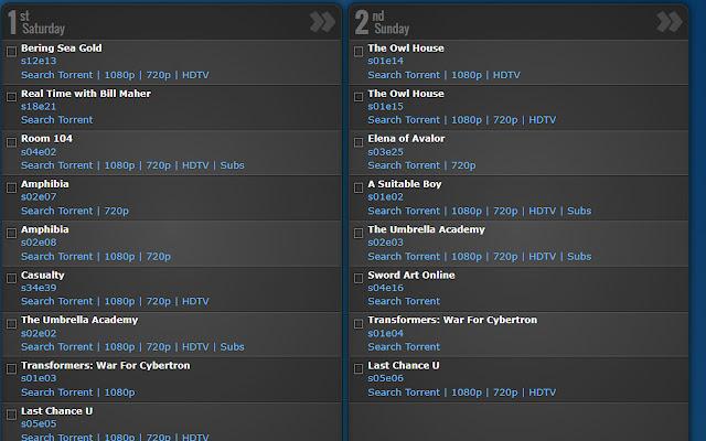 TV CALENDAR - Torrents Add-on (Updated)