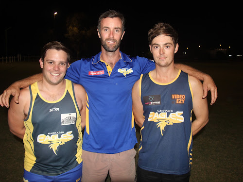 2018 Narrabri Eagles captain Luke McDermott, coach Nick Sandlant and forward leader Tom Carberry. The trio are part of the club's five-man leadership group, which includes vice-captain Ciaran McCann and midfield leader Dan Nixon.