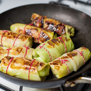 Pan Fried Cabbage Rolls with Spiced Lamb