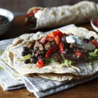 Low-fat Beef And Bean Burrito With Lime Yoghurt.