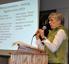 Photo: Mary Lou Mills on Rethink Poverty Campaign in Haliburton
