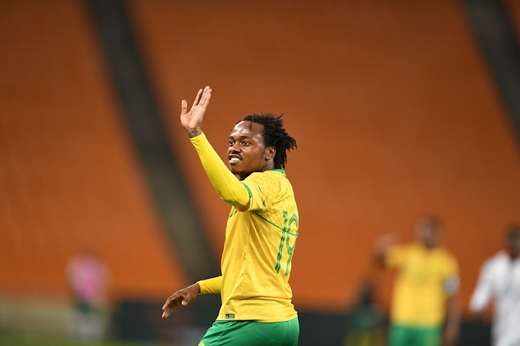 Percy Tau of South Africa during the 2022 TOTAL Africa Cup of Nations Qualifier match between South Africa and Ghana at FNB Stadium on March 25, 2021 in Johannesburg, South Africa.