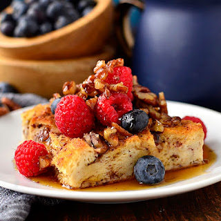 Gluten-Free French Toast Casserole with Butter-Pecan Maple Syrup.