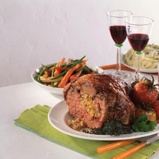 Roasted Lamb with Apple Apricot Stuffing.