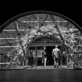 Tunnel walk by Karen Shivas - Buildings & Architecture Other Interior ( interior, building, black and white, glass, walkway, monotone, sunlight, manchester, tunnel )