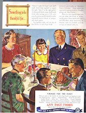 Photo: Thanksgiving from Ann Page. America was preparing for war. Men in uniform were seen in ads.
