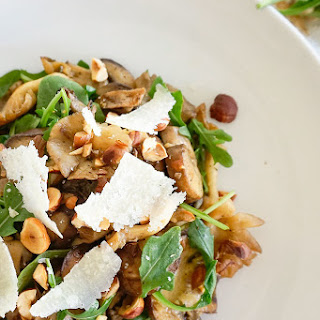 Sherried Mushrooms with Arugula & Toasted Hazelnuts