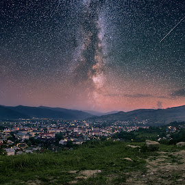 Nighty by Robert Ungurianu - Digital Art Places ( town, nightscape, trails, stars, landscape, star trails, night photography )