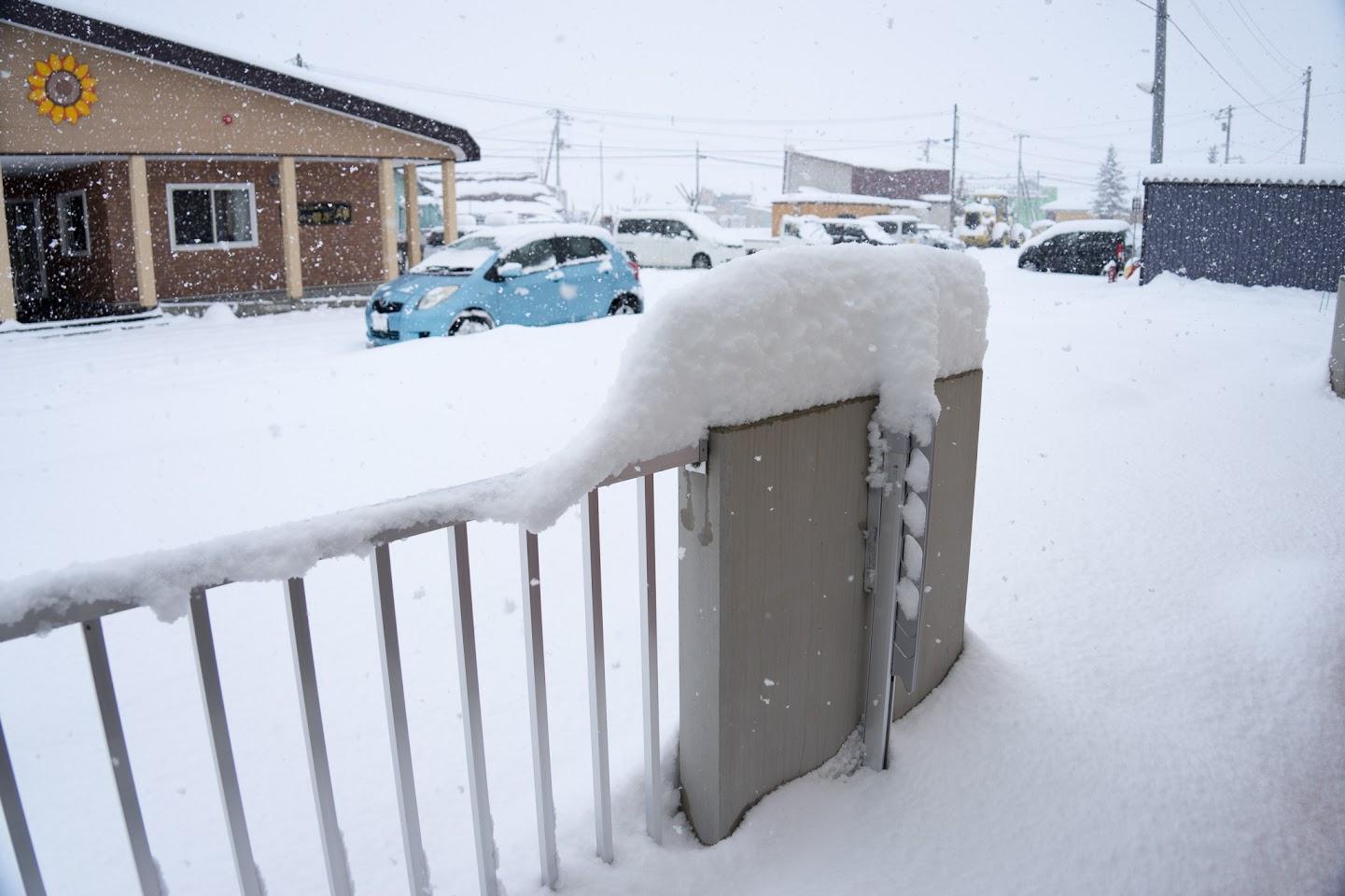 フェンスに積もった雪がそうさんのよう。。。