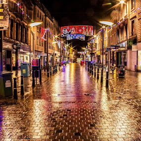 Streets of Gold  by Gordon Bain - City,  Street & Park  Night ( scotland, street, gold, early morning ., inverness )