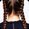 Current fashion braids. Hair braids icon