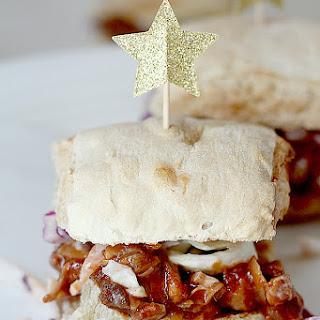 Jackfruit Pulled Pork BBQ Sandwich with Coleslaw.
