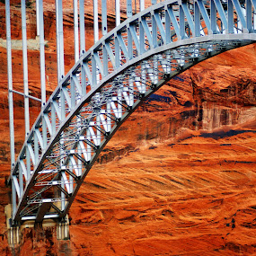 Glen Canyon Bridge by Brian Kerls - Buildings & Architecture Bridges & Suspended Structures ( red, lake powell, arizona, glen canyon bridge, bridge )