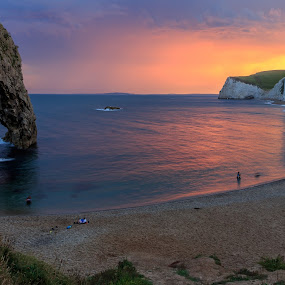 Durdle Door by Tony Walker - Landscapes Beaches ( bathing, sunset, sea, beach, durdle door, dorset )