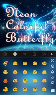Neon Colorful Butterfly Keyboard Theme apk screenshot 3