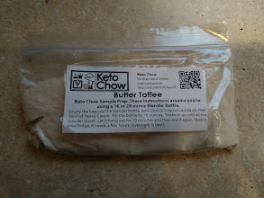 Photo: Keto Chow - Butter Toffee  Ordered: 12/28/15  Arrived: 12/30/15  Add: oil, water, cream  Taste: shortbread cookies, buttery. Githur thought of a light vanilla cake batter  Texture Warm: smooth, oily, milk thick Chilled: Very thick like a smoothie, but smooth, a little oily  Fullness: Full for a few hours, but then very snackish (I am not in ketosis)  Notes: Love the flavor and texture, but ketosis is not for me i end up craving carbs hard after 3 hours.  Buy: https://www.thebairs.net/product-category/ketochow/  About Me: http://amazonv.dreamwidth.org/67568.html  Project Tag: https://amazonv.dreamwidth.org/tag/soylent+experiment  Spreadsheet: https://docs.google.com/spreadsheets/d/1c_ceOFR7S_4qUiVcEG3ykQiSRpuc13PnmcraBwklDWg/edit#gid=0  Photos: https://plus.google.com/photos/104379818983119483801/albums/6137295043742319505   writeup: http://amazonv.dreamwidth.org/74719.html