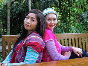 Photo: Meanwhile at the resort, Nowa and Den (Lydia), two long-time Karen hilltribe employees, relax and get their picture taken.