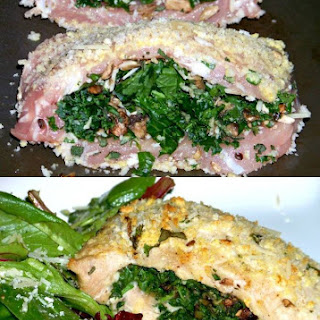 Savory Pork Chops Stuffed with Kale and Mushrooms.
