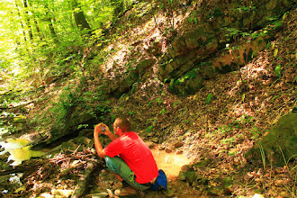 Photo: A Kantavári-kőfejtő mellől induló Lámpás-völgy a felső-triász korú Karolinavölgyi Homokkő Formáció alsó rétegeit tárja fel