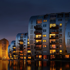flats @ Den Bosh by Gerd Moors - City,  Street & Park  Night ( water, flat, long exposure, yellow, architecture, evening, gradient, , city at night, street at night, park at night, nightlife, night life, nighttime in the city )
