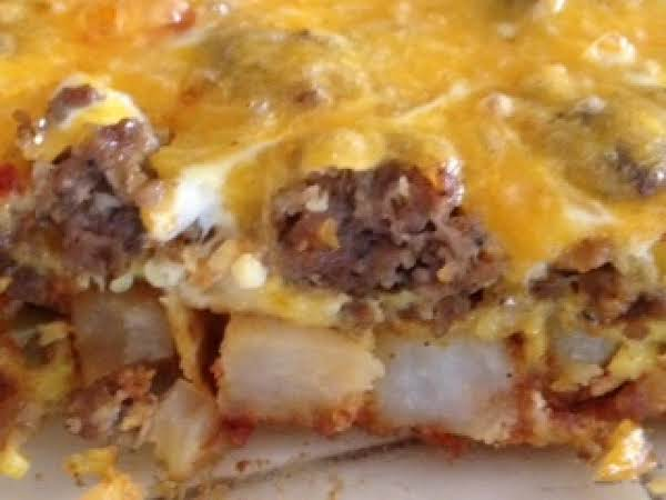 Breakfast Casserole - With Roasted Chorizo Potatoes, Sausage, Cheddar & Eggs. Delish!
