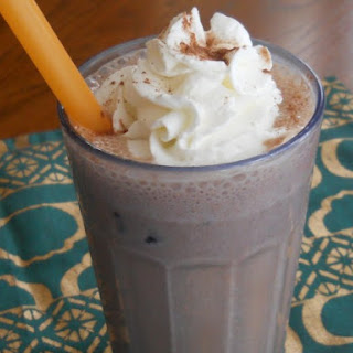 Cocoa and Peanut Butter Frozen Banana Smoothie.