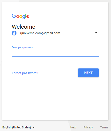 Sign In to Gmail - type your password