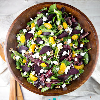 Roasted Beet Salad with Mandarin Oranges and Goat Cheese.
