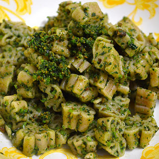 Dino Pasta With Dino Kale + Roasted Almond Pesto