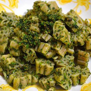 Dino Pasta With Dino Kale + Roasted Almond Pesto.