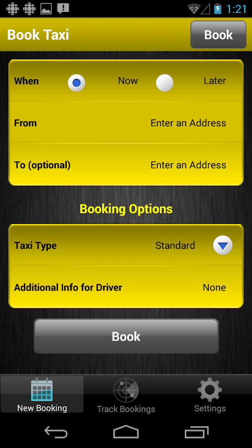 Yellow Cab Nanaimo App- screenshot