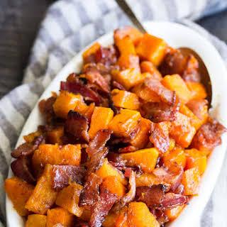 Maple Bacon Roasted Butternut Squash {Paleo}.