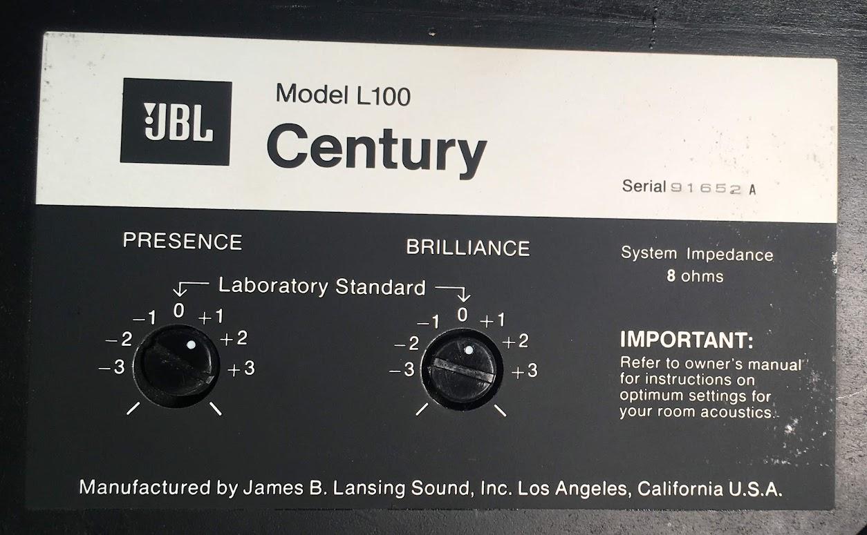 Jbl L100 Serial Numbers