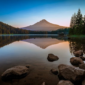 Mt Hood Sunrise by Tom Moors - Landscapes Mountains & Hills ( clear, oregon, reflection, sky, mountain, trillium lake, lake, mount hood, sunrise, rocks )