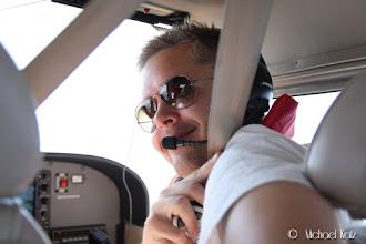 Photo: Anders er co-pilot på turen fra Kjeller til Aarhus