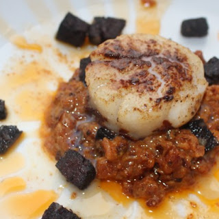 Pan Fried Scallops with Bacon Puree and Black Pudding