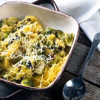Garlic Roasted Brussel Sprout Spaghetti Squash.