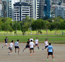Photo: A friendly game of soccer in a park across the street from the Ministry of Education