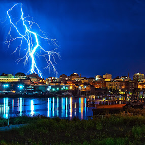 Victoria lightning by Doug Clement - Landscapes Weather ( b.c., lightning, victoria, pwcstorm, storm, city, night, lights, stormy, weather )