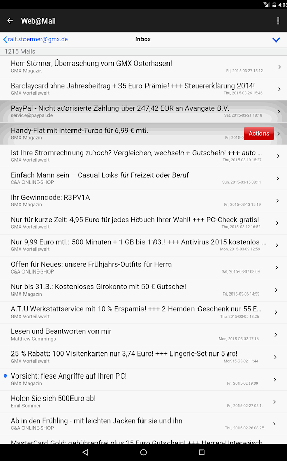 Web@Mail - mobile Mail- screenshot