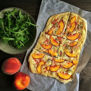 Peach & Gorgonzola Flammkuchen