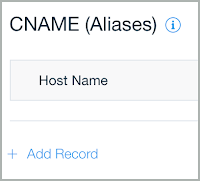Add Record is shown below the CNAME (Aliases) records table.