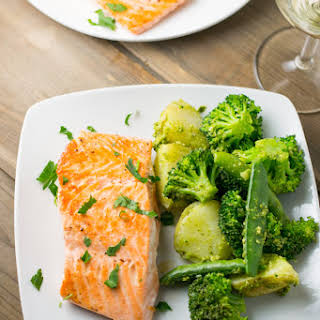 Pan Fried Salmon with Pesto Dressed Vegetables.