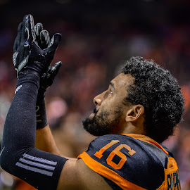 Opening Ceremony by Garry Dosa - Sports & Fitness American and Canadian football ( orange, clapping, sports, teams, players, cfl, indoors, black, stadium, football, lighting, people )