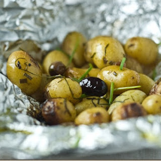 Potato and Olive Pockets in the Barbeque.