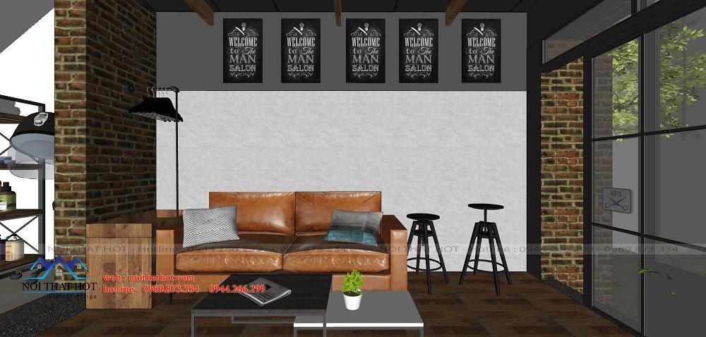Thiết kế salon tóc ghế ngồi chờ cho khách